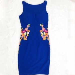 Chi Chi London Embroidered Dress Royal Blue